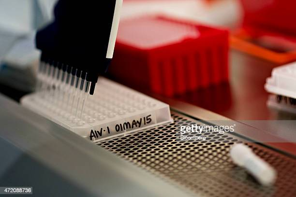 A tray of avian influenza test samples sit in a safety cabinet during testing in the realtime analytical diagnostics lab at the Iowa State University...