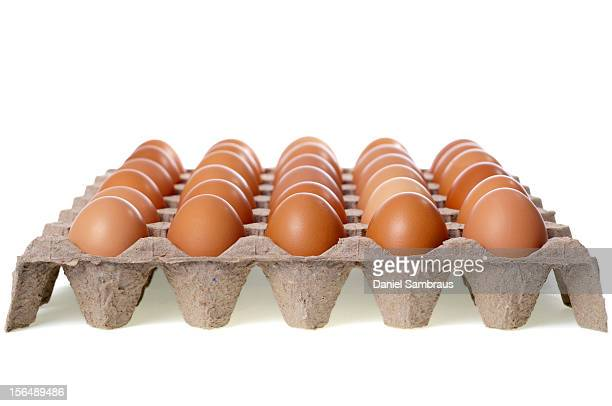 Tray of brown eggs
