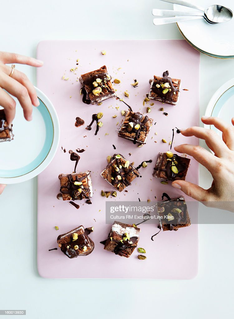 Tray of chocolate cake with nuts : Stock Photo