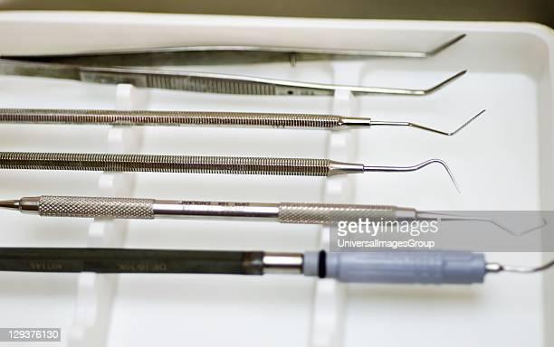 Tray of dental instruments