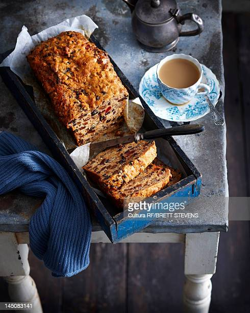 Tray of fruit bread with tea
