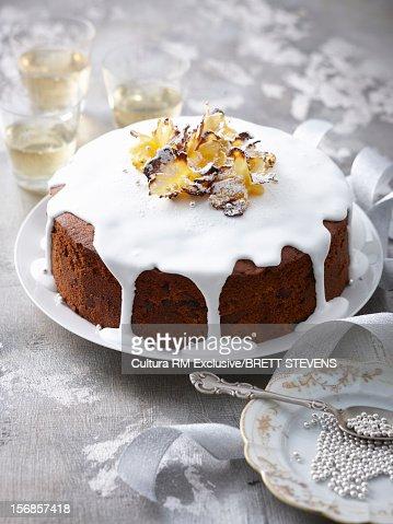 Tray of glazed pineapple cake