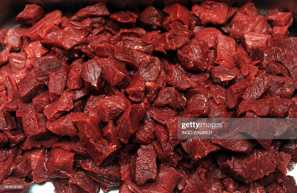 A tray of horse meat is on sale at a shop in Bremen, northern Germany on February 14, 2013. scandal over horsemeat-tainted food spiralled after Britain announced the discovery of a potentially harmful drug in horsemeat sent to France and Germany.