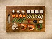 Tray of neatly organized food