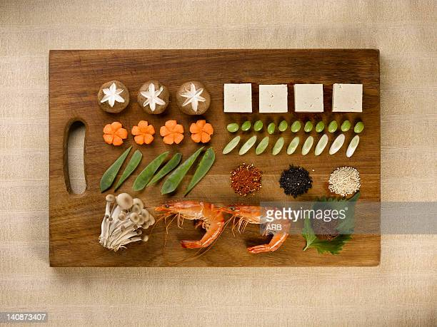 Tray of neatly organized food