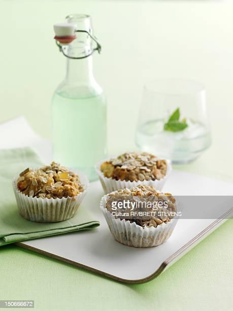 Tray of oat bran muffins