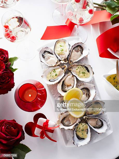 Tray of oysters with lemon
