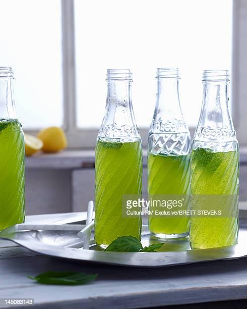 Tray of sodas in bottles