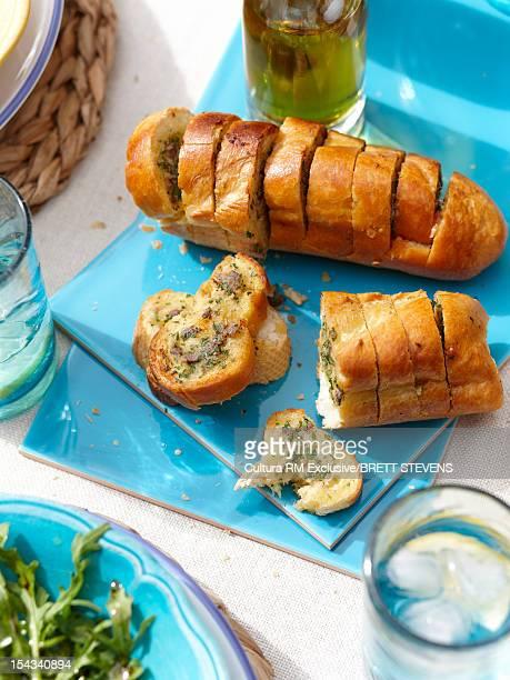 Tray of toasted garlic bread