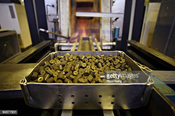 A tray of uranium pellets sit outside a furnace prior to being baked at the Ulba Metallurgical Plant in UstKamenogorsk Kazakhstan on Tuesday Oct 23...