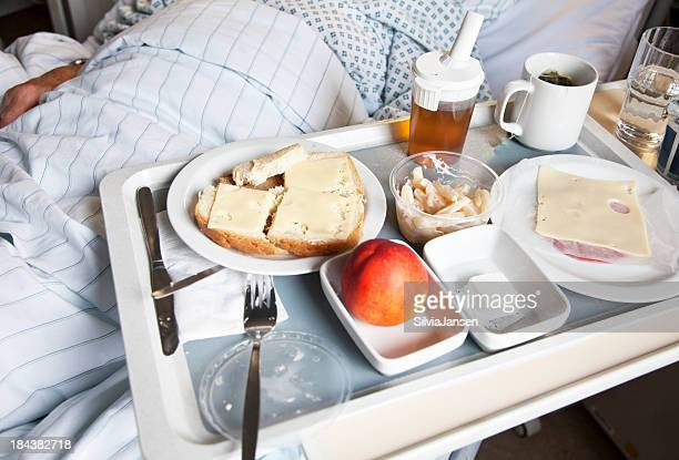 tray with food in hospital