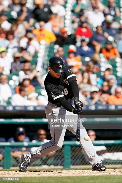 Trayce Thompson of the Chicago White Sox bats against the Detroit Tigers at Comerica Park on September 21 2015 in Detroit Michigan