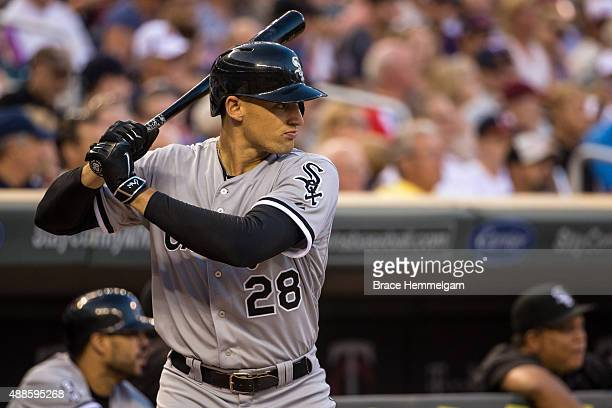 Trayce Thompson of the Chicago White Sox bats against the Minnesota Twins on September 2 2015 at Target Field in Minneapolis Minnesota The Twins...