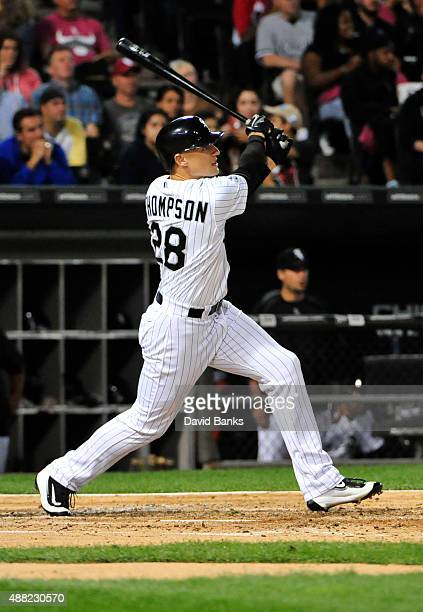 Trayce Thompson of the Chicago White Sox hits a tworun home run against the Oakland Athletics during the third inning on September 14 2015 at US...