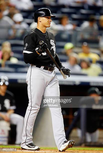 Trayce Thompson of the Chicago White Sox in action against the New York Yankees at Yankee Stadium on September 25 2015 in the Bronx borough of New...