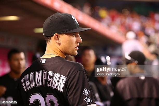 Trayce Thompson of the Chicago White Sox looks on from the dugout during the MLB game against the Los Angeles Angels of Anaheim at Angel Stadium of...