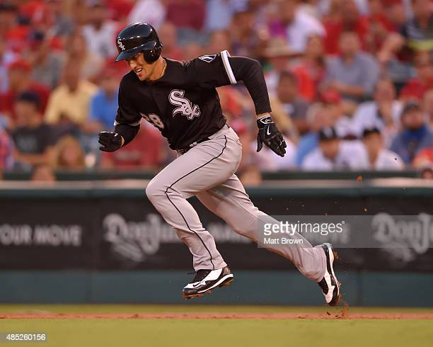 Trayce Thompson of the Chicago White Sox runs during the game against the Los Angeles Angels of Anaheim at Angel Stadium of Anaheim on August 17 2015...