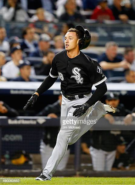 Trayce Thompson of the Chicago White Sox scores a run in the third inning against the New York Yankees at Yankee Stadium on September 25 2015 in the...