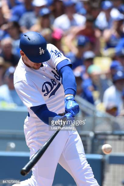 Trayce Thompson of the Los Angeles Dodgers bats against the Atlanta Braves at Dodger Stadium on July 23 2017 in Los Angeles California