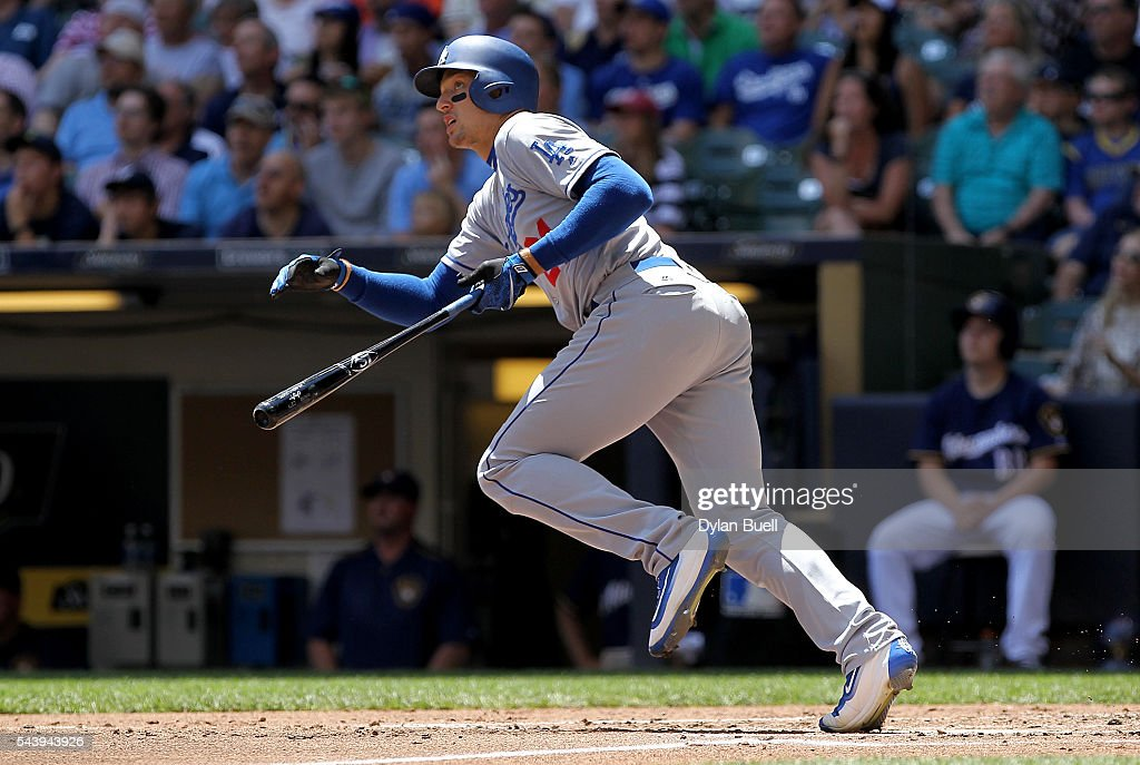 <a gi-track='captionPersonalityLinkClicked' href=/galleries/search?phrase=Trayce+Thompson&family=editorial&specificpeople=9015341 ng-click='$event.stopPropagation()'>Trayce Thompson</a> #21 of the Los Angeles Dodgers hits a home run in the second inning against the Milwaukee Brewers at Miller Park on June 30, 2016 in Milwaukee, Wisconsin.
