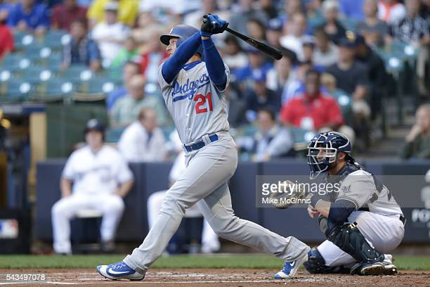 Trayce Thompson of the Los Angeles Dodgers hits a single during the second inning against the Milwaukee Brewers at Miller Park on June 28 2016 in...