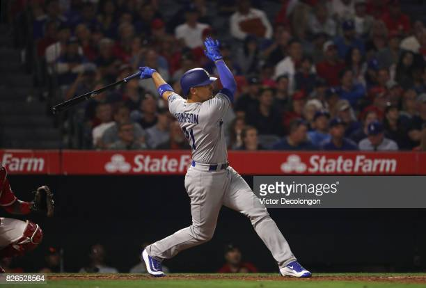 Trayce Thompson of the Los Angeles Dodgers hits a solo homerun during the eighth inning of the MLB game the Los Angeles Angels of Anaheim at Angel...