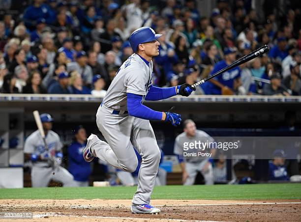 Trayce Thompson of the Los Angeles Dodgers hits a tworun home run during the seventh inning of a baseball game against the San Diego Padres at PETCO...