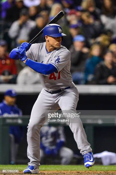 Trayce Thompson of the Los Angeles Dodgers makes a pinch hit appearance in the third inning of a game against the Colorado Rockies at Coors Field on...