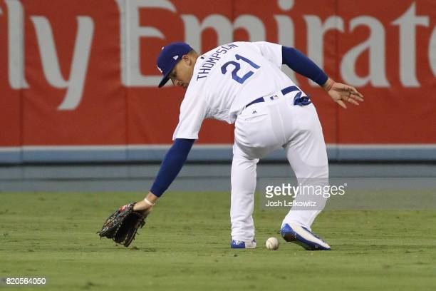 Trayce Thompson of the Los Angeles Dodgers misses a fly ball during the the game between the Atlanta Braves and the Los Angeles Dodgers at Dodger...