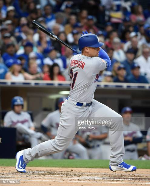 Trayce Thompson of the Los Angeles Dodgers plays during a baseball game against the San Diego Padres at PETCO Park on July 1 2017 in San Diego...