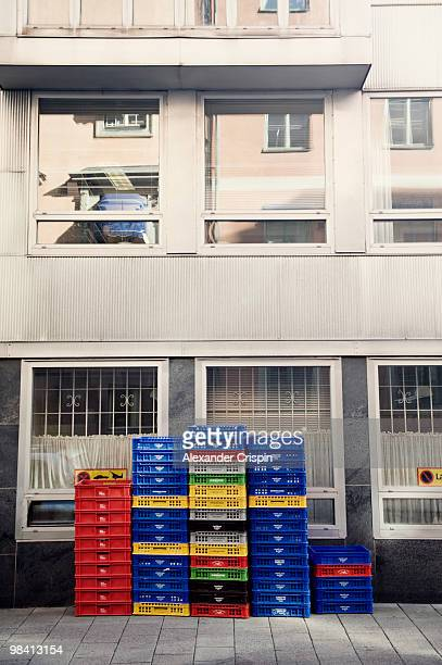 Trays in front of a building Sweden.