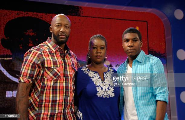 Trayvon Martin's family Sybrina Fulton Tracy Martin and Jahvaris Fulton visits BET's '106 Park' at the BET Studios on April 16 2012 in New York City
