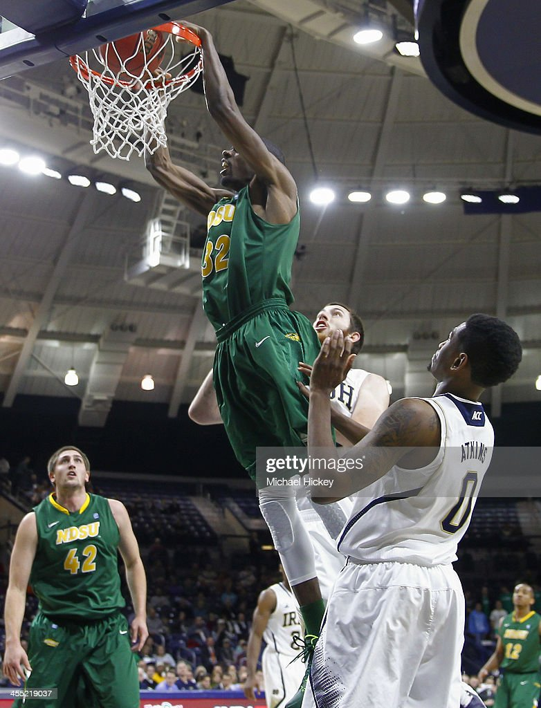 TrayVonn Wright #32 of the North Dakota State Bison dunks the ball against the Notre Dame Fighting Irish at Purcel Pavilion on December 11, 2013 in South Bend, Indiana.