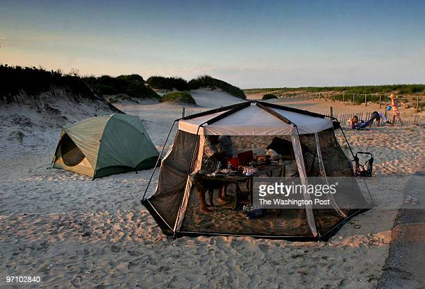 TRCamping Photos by Michael Williamson NEG#181327 6/17/06 CAMPING ON THE BEACH AT ASSATEAGUE ISLAND STATE PARK VIRGINIA Campsite of the Benavides...