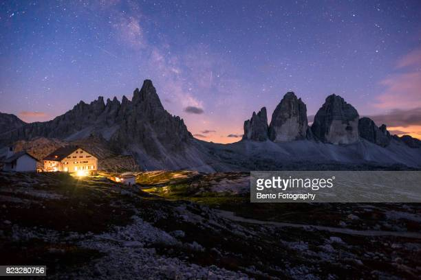Tre cime with milky way at night in Dolomite, Italy
