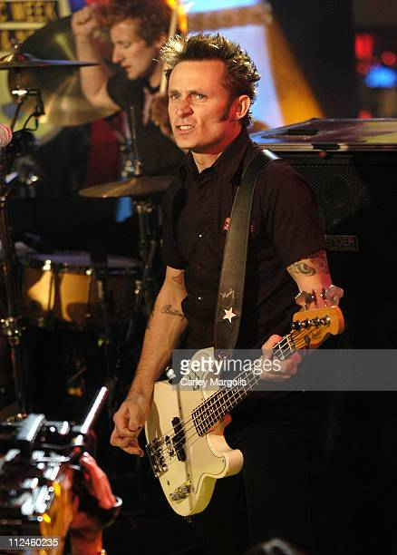 Tre Cool and Mike Dirnt of Green Day during Green Day Nicole Richie Yellowcard and Thrice Visit MTV's 'TRL' November 10 2005 at MTV Studios in New...