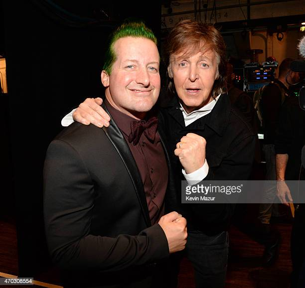 Tre Cool and Paul McCartney attend the 30th Annual Rock And Roll Hall Of Fame Induction Ceremony at Public Hall on April 18 2015 in Cleveland Ohio
