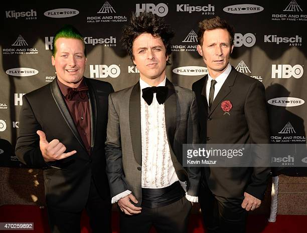 Tre Cool Billie Joe Armstrong and Mike Dirnt attend the 30th Annual Rock And Roll Hall Of Fame Induction Ceremony at Public Hall on April 18 2015 in...
