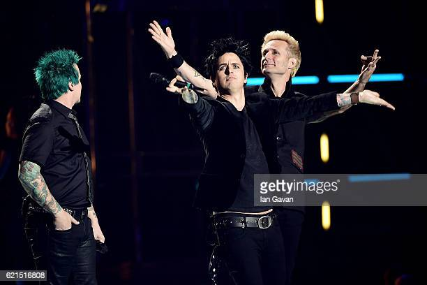 Tre Cool Billie Joe Armstrong and Mike Dirnt of Green Day accept Global Icon award on stage at the MTV Europe Music Awards 2016 on November 6 2016 in...