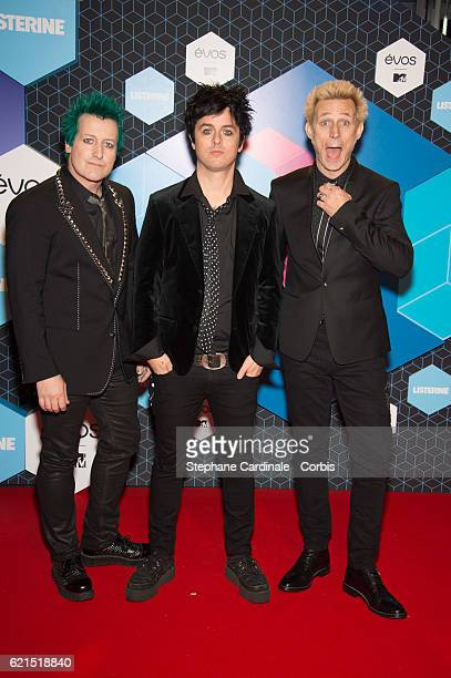 Tre Cool Billie Joe Armstrong and Mike Dirnt of Green Day attends the MTV Europe Music Awards 2016 on November 6 2016 in Rotterdam Netherlands