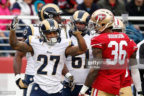 Tre Mason of the St Louis Rams celebrates after scoring a touchdown against the San Francisco 49ers in the second quarter of their NFL game at Levi's...