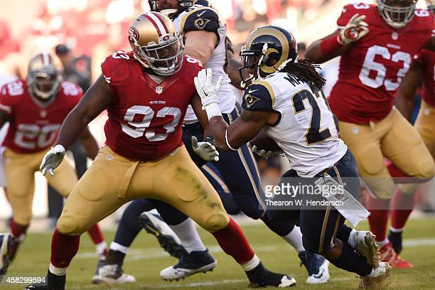 Tre Mason of the St Louis Rams is tackled by Ian Williams of the San Francisco 49ers during the third quarter at Levi's Stadium on November 2 2014 in...