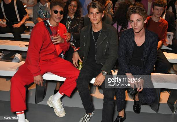 Tre Samuels Twan Kuyper and Ben Nordberg attend the Christopher Raeburn show during the London Fashion Week Men's June 2017 collections on June 11...