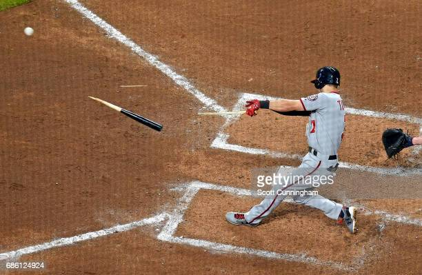 Trea Turner of the Washington Nationals breaks his bat on a seventh inning grounder against the Atlanta Braves at SunTrust Park on May 20 2017 in...