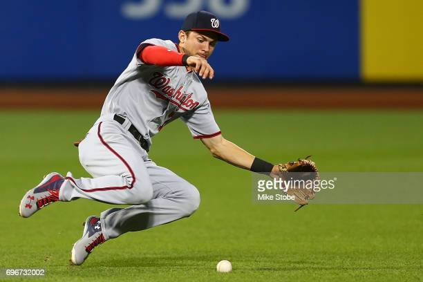 Trea Turner of the Washington Nationals tracks down Jose Reyes of the New York Mets in field single in the fifth inning at Citi Field on June 16 2017...