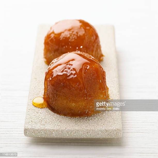 Treacle syrup pudding served on a platter