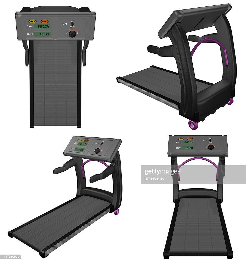 Treadmill Four Views (3D) : Stock Photo