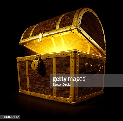 A treasure chest with a glowing light
