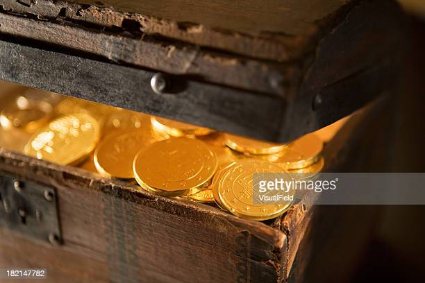 Treasure Chest with Gold Coins Close-Up