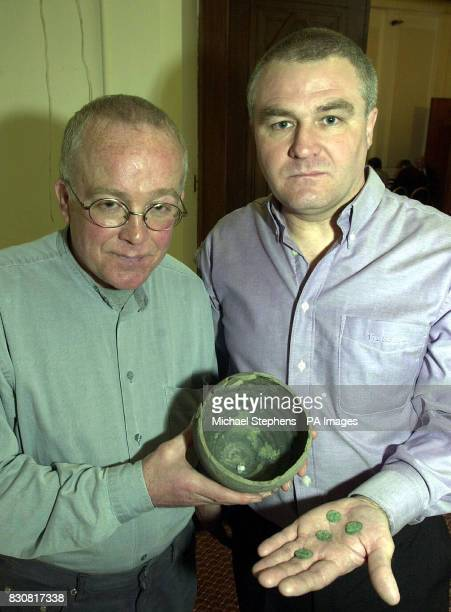 Treasure hunters Paul Rennoldson and Jimmy Haley from Consett Co Durham holding Roman pots and coins Paul and James uncovered the treasures along...